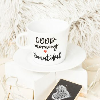 Filiżanka ręcznie malowana Good Morning Beautifil - KikaHandmade