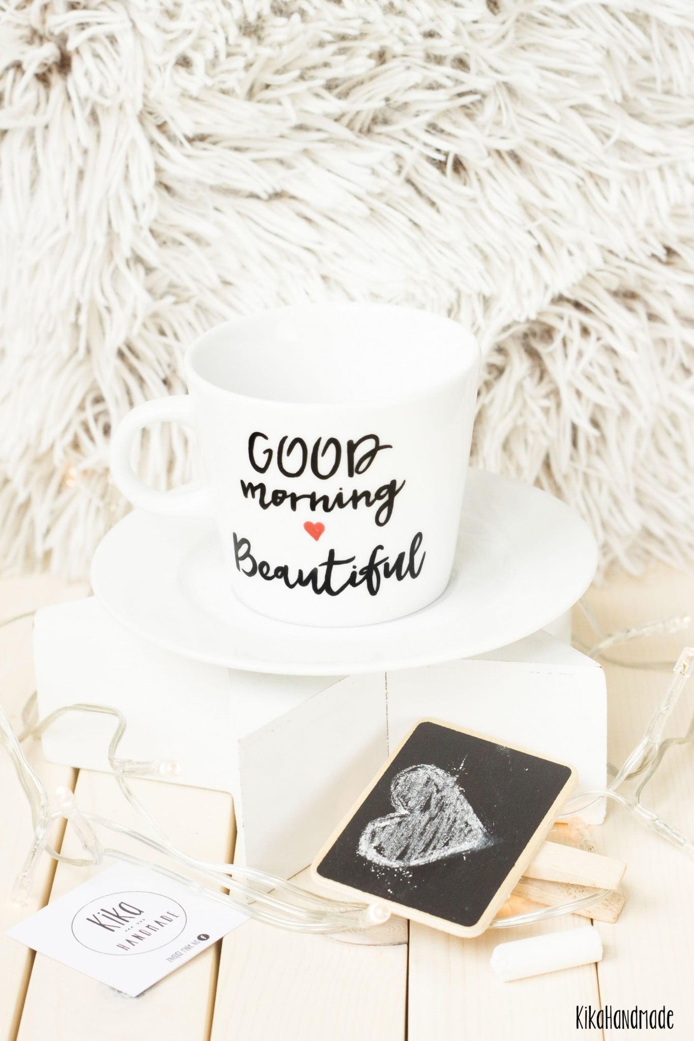 Filiżanka ręcznie malowana Good Morning Beautiful