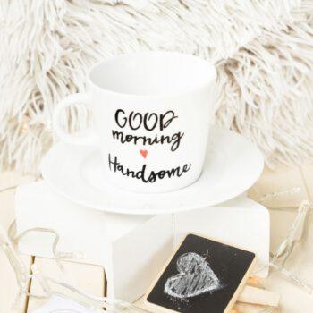 Filiżanka ręcznie malowana Good Morning Handsome - KikaHandmade