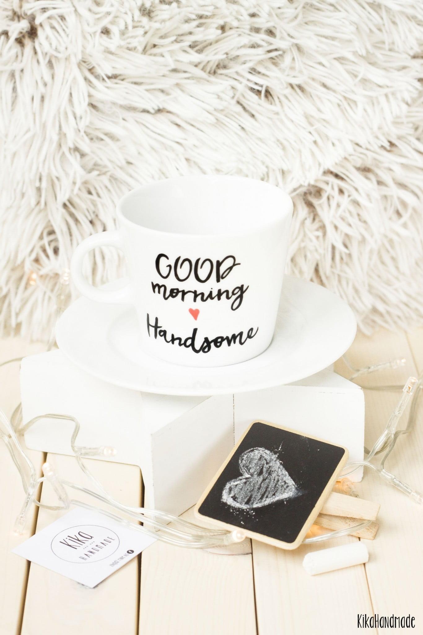 Filiżanka ręcznie malowana Good Morning Handsome