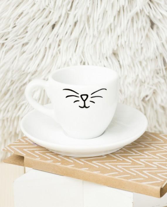 Filiżanka ręcznie malowana Kocie espresso - KikaHandmade